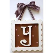 22.9cm Whimsical Chocolate/Pink Framed Letter Y