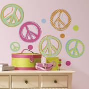 RoomMates Peace Signs Peel & Stick Wall Decals - Glitter