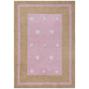 St Croix Trading Company Carousel Pink Border Dots 4x6 Area Rug