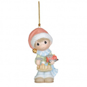 Precious Moments Boy with Toy Hammer and Train Christmas Ornament