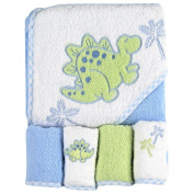 SpaSilk Thick Terry Hooded Towel Set with 4 Washcloths - Dino Applique - Blue
