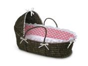 Badger Basket Moses Basket with Polka Dot Hood and Bedding, Espresso/Pink