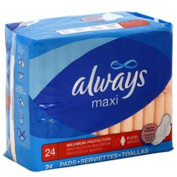 Always Maxi Maximum Protection with Wings, Unscented Pads