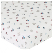 JoJo Designs Nautical Nights Collection Fitted Crib Sheet - Print