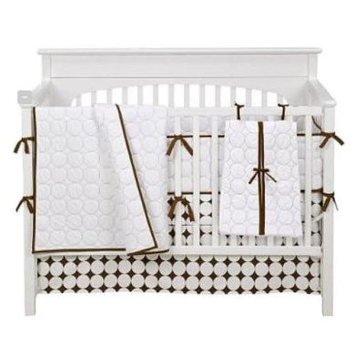 Bacati Quilted Circles White & Chocolate 4-Piece Crib Bedding Set