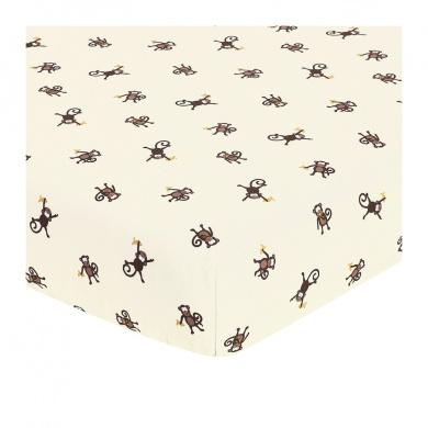 JoJo Designs Monkey Collection Fitted Crib Sheet - Monkey Print