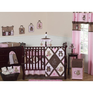 JoJo Designs Pink Teddy Bear Collection Plaid Fitted Crib Sheet