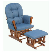 Storkcraft Hoop Glider & Ottoman -  Cognac with Denim Cushions
