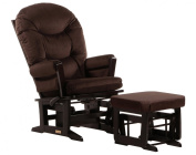 Dutailier Ultramotion Modern Glider Rocker Multiposition and Ottoman Combo -  Espresso Finish Brown Micro Fabric