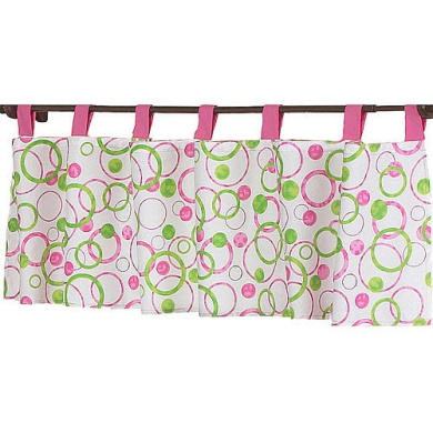 JoJo Designs Pink and Green Mod Circles Collection Window Valance