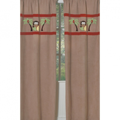 JoJo Designs Monkey Collection Window Panels - Set of 2