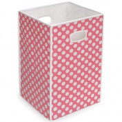 Badger Basket - Folding Hamper/Storage Bin, Pink with White Polka Dots