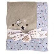 Trend Lab 102142 Receiving Blanket- Warm Grey 4C Velour with Rockets Star Percale Trim & Star Applique