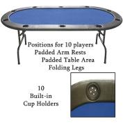 Trademark Poker Full Size Texas Hold'Em Poker Table, Blue Felt