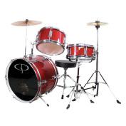 GP Percussion 3-Piece Complete Junior Drum Set, Metallic Red
