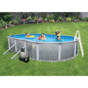 Swim Time Oval 33' x 18' x 130cm Martinique 18cm Top Rail Metal-Walled Swimming Pool