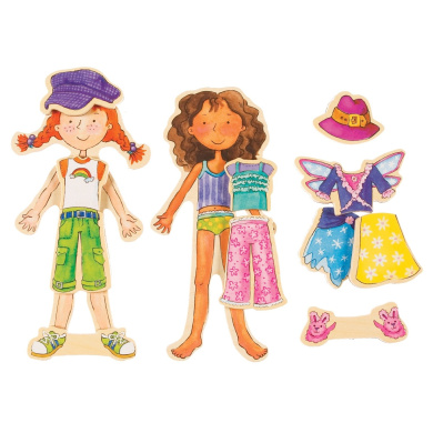 T.S. Shure Daisy Girls' Dress-Up Wooden Magnetic Dress-Up Dolls