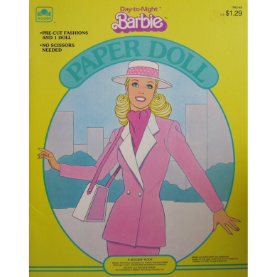 Day to Night BARBIE Paper Doll Book w Pre-Cut Fashions (1985 Golden)