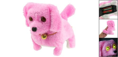 Gino Pink Plush Neck Bell Walking Barking Electronic Dog Toy Gift