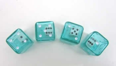 Green Clear Double Dice 19mm D6 4ea