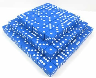 Blue with White Dots D6 Squared Corners (200)