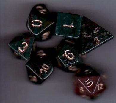 Dwarven Stone Dice: 14mm Bloodstone Polyhedral 7-Die Set