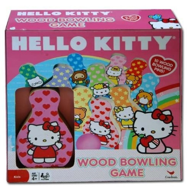 Hello Kitty Wood Bowling Game with 10 Wood Bowling Pins