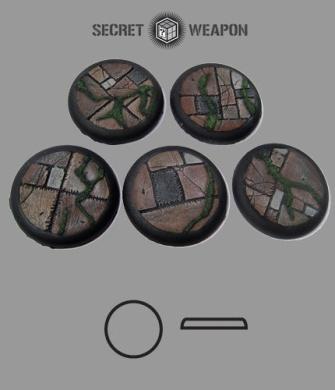 Secret Weapon- Scenic Bases: Round Lip 40mm Flagstone Bases (5)