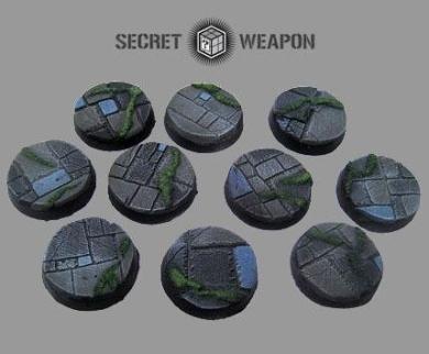 Secret Weapon - Scenic Bases: Bevelled Edge 25mm Flagstone Bases (10)