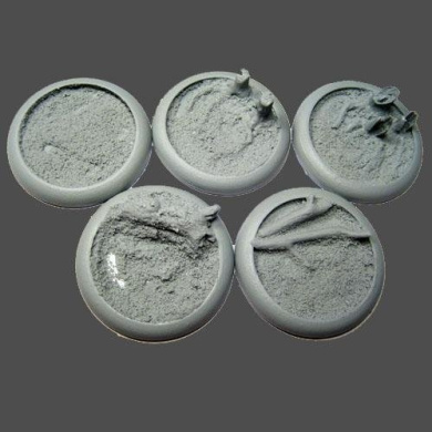 Secret Weapon - Scenic Bases: Round Lip 40mm Blasted Wetlands Bases (5)