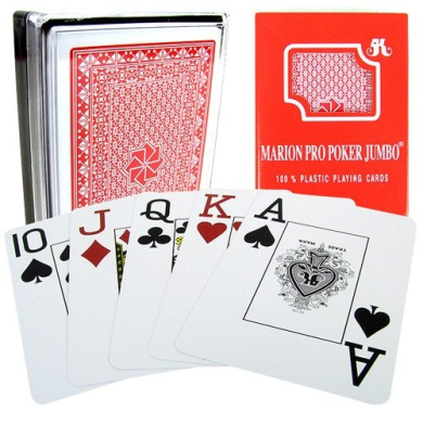 Marion Pro Jumbo Index - 100% Red Plastic Poker Playing Cards