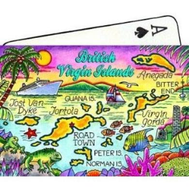 British Virgin Islands (Tortola) Map Collectible Souvenir Playing Cards