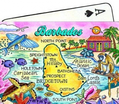 Barbados Map Collectible Souvenir Playing Cards