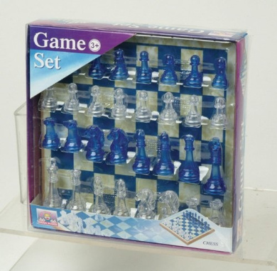 Transparent Chess with Wooden Board