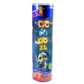 """Hasbro Year 2007 Littlest Pet Shop Tube """"Winter Season"""" Series 3 Pack Bobble Head Pet Figure Set #63439 - Light Brown Baby Lamb (#447) with Scarf, Yellow Mouse (#448) and Grey Bulldog"""