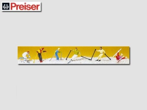 DOWN HILL SKIERS - PREISER HO SCALE MODEL TRAIN FIGURES 10313 by