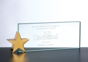 Jade Glass Name Plate with Brass Star Holder