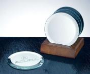 Circle Mirror Coaster Set with Walnut Base