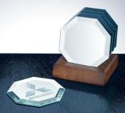 Octagon Mirror Coaster Set with Walnut Base