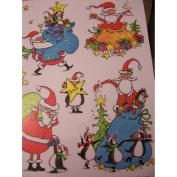 Christmas Glitter Window Clings ~ Santa, Bags, & Penguins