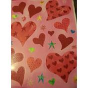 Valentine Glitter Window Clings ~ Glitter Hearts with Flowers & Stars