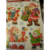Celebrate It Christmas Window Clings ~ Santas, Skating Snowmen, & Snowflakes