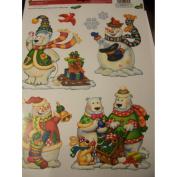Celebrate It Christmas Window Clings ~ Snowmen & Polar Bear Family