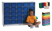 25 Tray Mobile Cubbie With Trays Orange