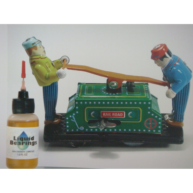 Liquid Bearings, 100%-synthetic oil for wind-up toys, restores sticky or frozen mechanisms!!