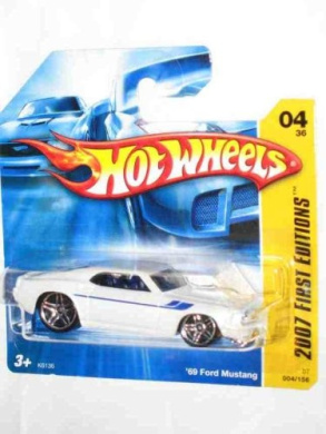 2007 New Models #4 1969 Ford Mustang White PR-5 Wheels #2007-04 Collectible Collector Car Mattel Hot Wheels