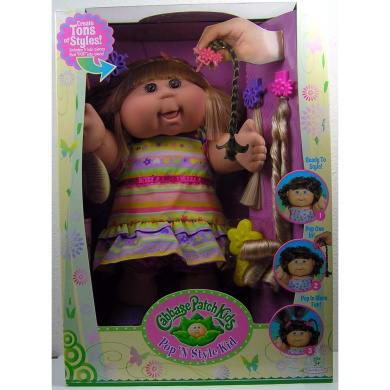 Pop 'N Style Cabbage Patch Kids Doll - Blonde Hair & Brown Eyes in Striped Dress