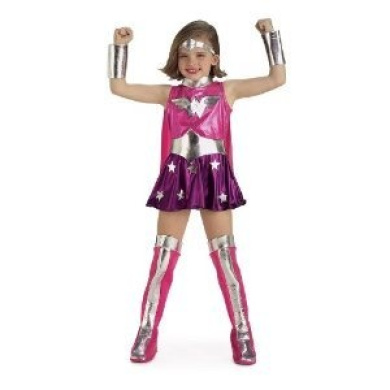 Justice League Wonder Woman Child Costume, Pink, Size L(10-12) REFLECTIVE