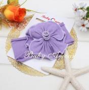 Lovely Ovely Unusal Cotton Girls Baby Flower Headband Hairband Bow Lavender