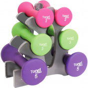 "Tone Fitness 9.1kg Hourglass Neoprene Dumbbell Set with ""A"" Frame Rack"